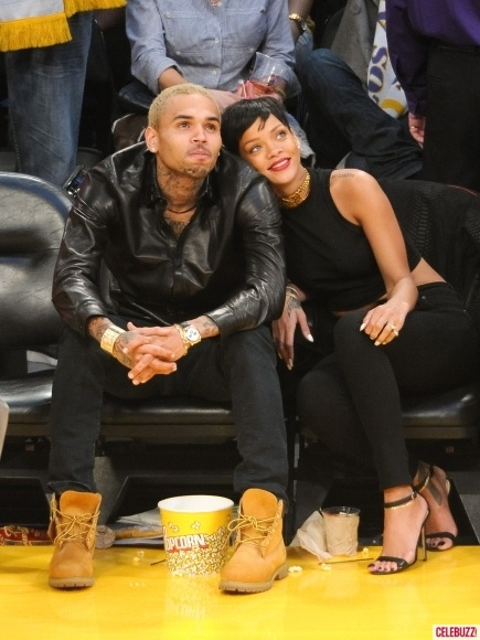 Chris Brown and Rihanna attend a basketball game between the New York Knicks and the Los Angeles Lakers at Staples Center on December 25, 2012 in Los Angeles  http://celebhotspots.com/hotspot/?hotspotid=6465&next=1