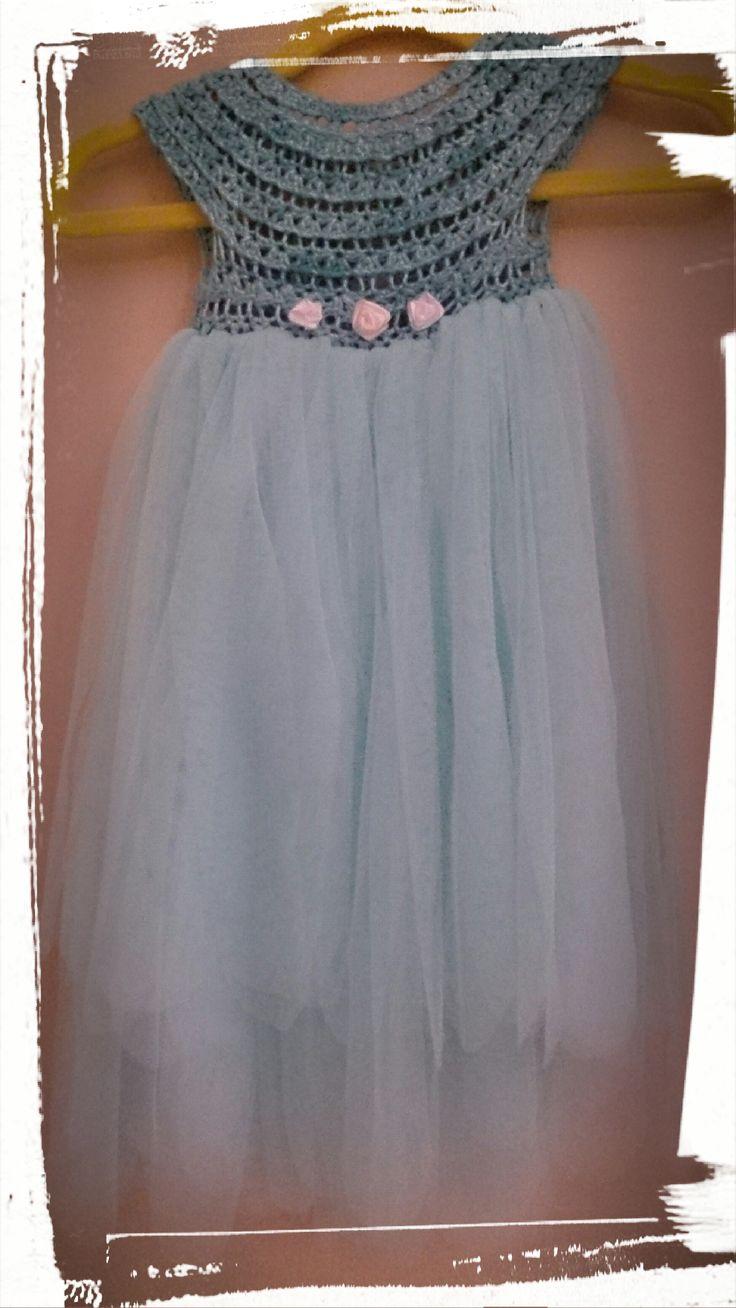 Beautifully handmade crochet and tulle little girl dress