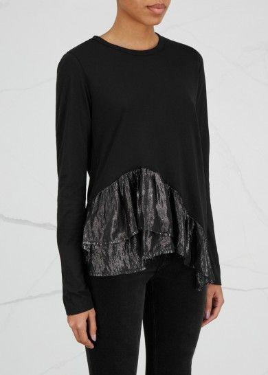 Black asymmetric cotton blend top