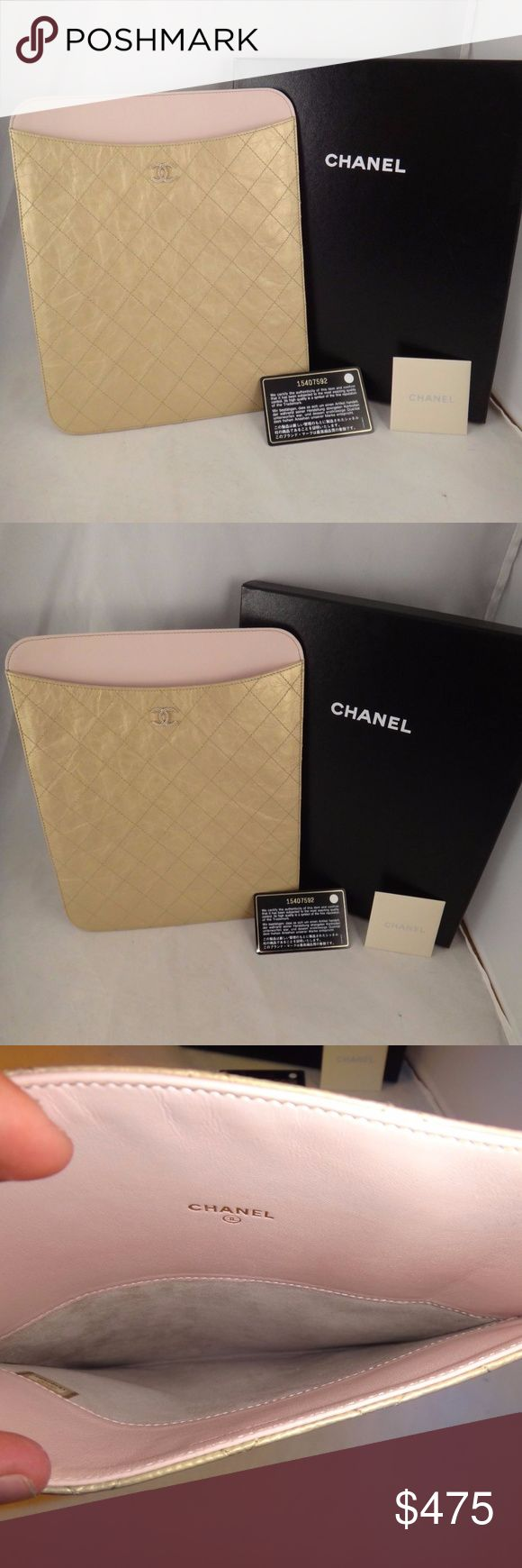 Chanel Light Gold Quilted Leather CC Logo iPadCase NIB Chanel Light Gold Quilted Leather CC Logo iPad Case Cover Sleeve Bag $775  ********** Chanel **********  Brand: Chanel Size: Ipad Case Name: Sleeve Color: Light Gold Material: Leather Retail: $775+tax Light gold leather Quilted design throughout Light pink leather inside CC light gold front logo 100% Authentic or your money back Comes in the box with authenticity card So cute and a super must have Great gift CHANEL Accessories Laptop…