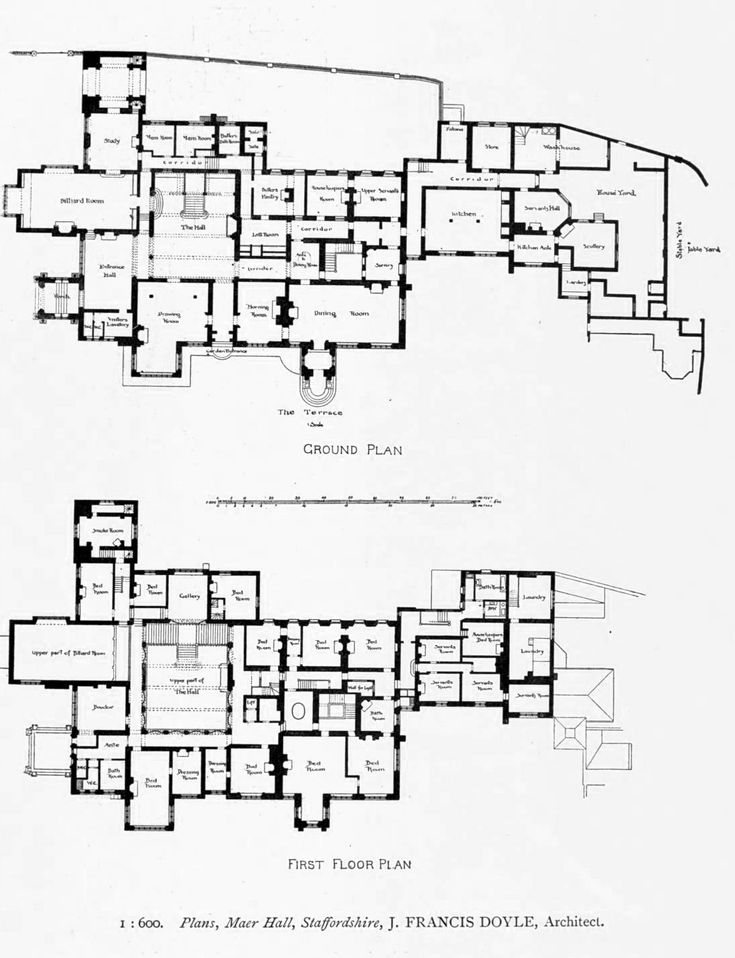 Floor plans for maer hall staffordshire linna pinterest for Residential construction drawings