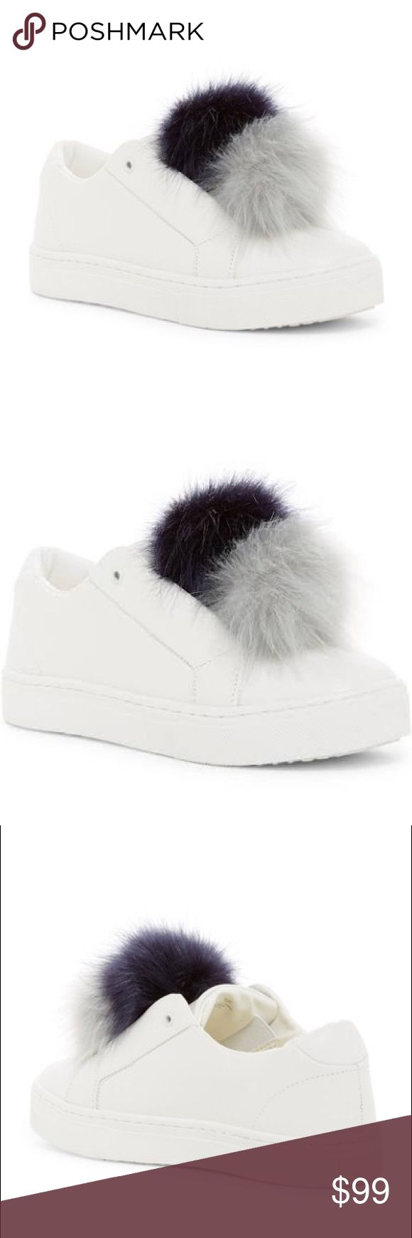 New SAM EDELMAN Leather Shoe Sz 6 NWT NEW Sam Edelman White Leather With Navy/Grey Pompom Round toe, Pompom embellished vamp, Slip-on style, Padded footbed, Grip sole, laceless, comfy, cute Sz 6 NWT Sam Edelman Shoes Sneakers