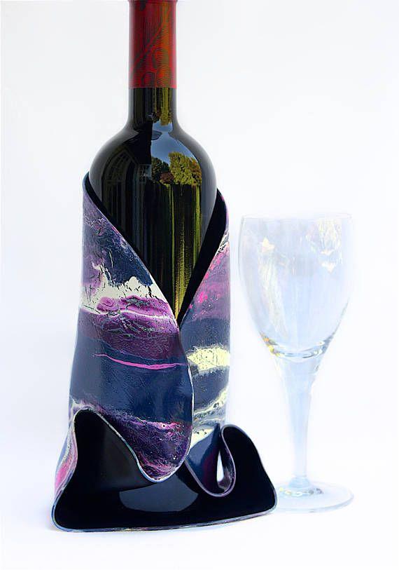 Vin cache-bouteille bleu et violet vin manche