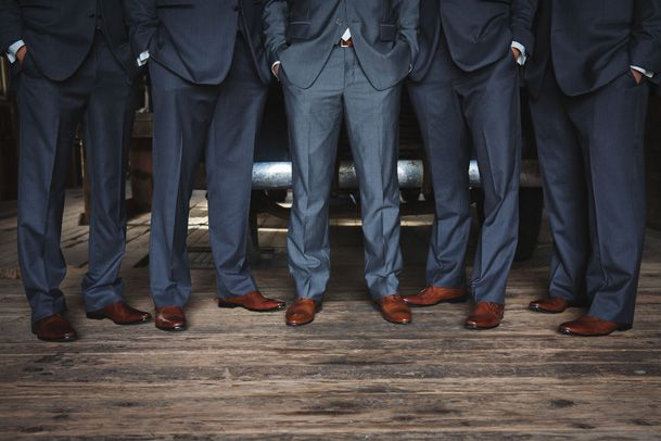 grey suits with brown shoes