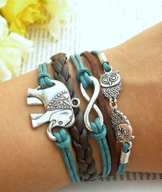Elephant Bracelet Infinity Bracelet by BraceletStreetUSA on Etsy