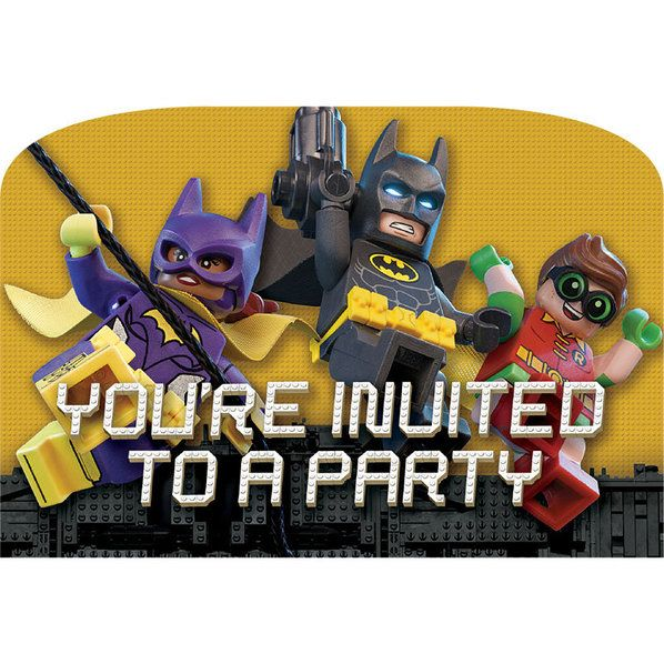 Check out Lego Batman Postcard Invitations | Lego Batman party supplies from Birthday in a Box from Birthday In A Box