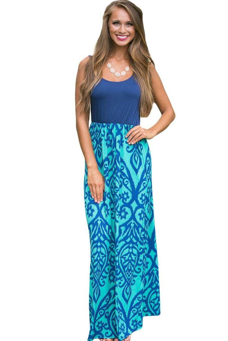 Robe Longue Boheme Chic Bleu Clair Damasse Impression Sans Manches Pas Cher www.modebuy.com @Modebuy #Modebuy #Bleu