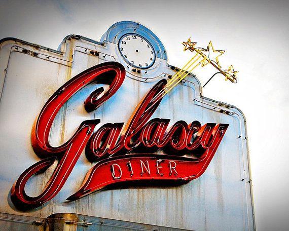 Route 66 Galaxy Diner Vintage Neon Sign - Retro Kitchen Decor - Route 66 Art - Vintage Sign Art - 8X10 Fine Art Photograph. $30.00, via Etsy.