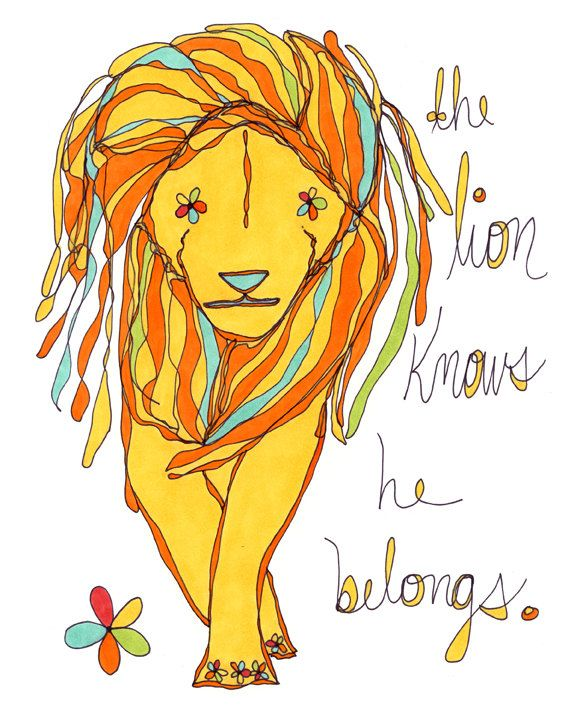 the lion knows he belongs. colorful print. rachel awes. on Etsy, $18.00