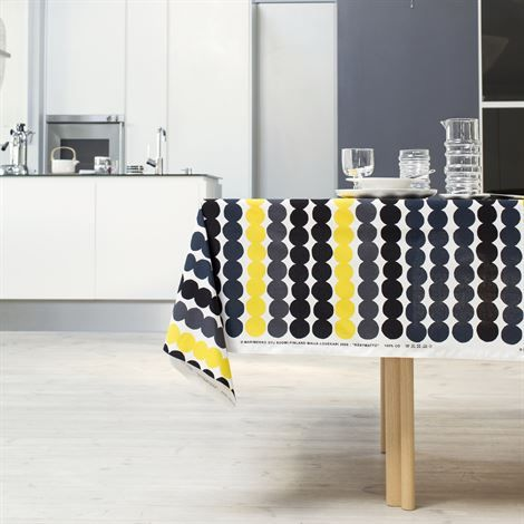 Räsymatto Stoff - gelb/schwarz - Marimekko