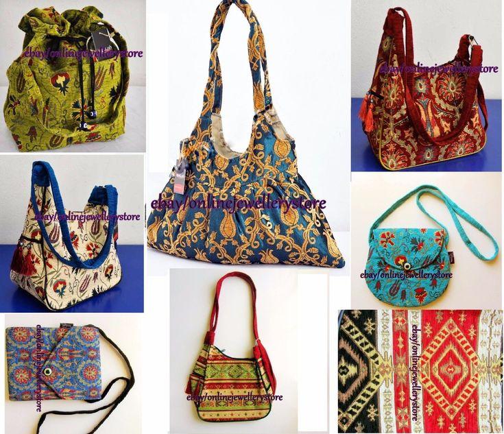 Oriental Traditional Turkish Handmade Fabric Bag Ottoman Pile Design Woven