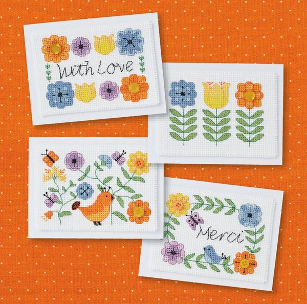 chirpy flower cards on CrossStitcher Mag May 2014 issue