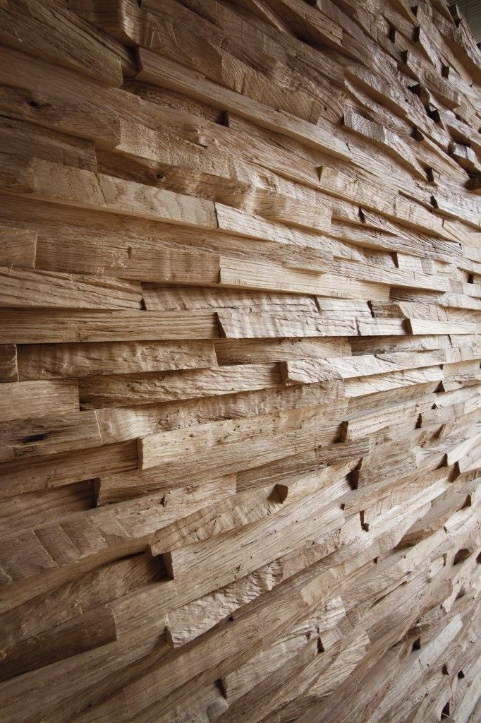 This wood wall looks rough up close but weathered soft/smooth from far away