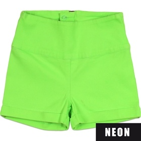 Emma neon grønne højtaljede shorts fra D-XEL