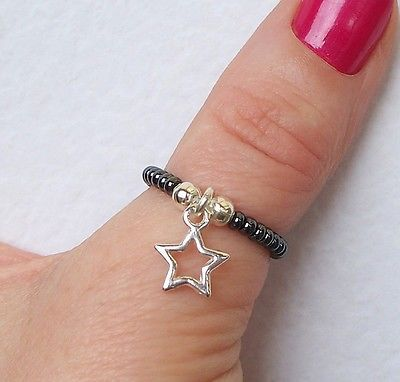 Silver Star Charm Ring Beaded Stretch Thumb Ring in Jewellery & Watches, Costume Jewellery, Rings | eBay!