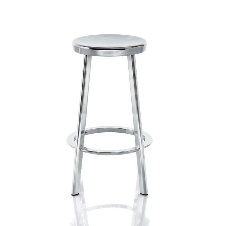 DEJA-VU STOOL BY NAOTO FUKASAWA | High bar stool: Height 76cm x Width 50cm x Diameter of seat 33cm Medium bar stool: Height 66cm x Width 47cm x Diameter of seat 33cm Low bar stool: Height 50cm x Width 42.5cm x Diameter of seat 33cm | Legs in Extruded aluminium. Seat and foot-rest in die-cast aluminium.