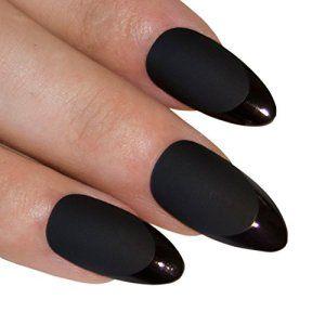 Art bling Stiletto faux ongles Acrylique noir mat Medium Conseils UK