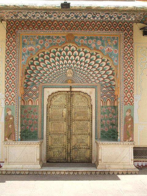 Peacock door in India~Jaipur photo by wisdomeur, via Flickr