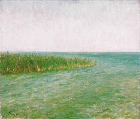 The edge of Lake Balaton  -   Pal Szinyei Merse   Hungarian 1845-1920  Oil on canvas  60 x 70 cm.