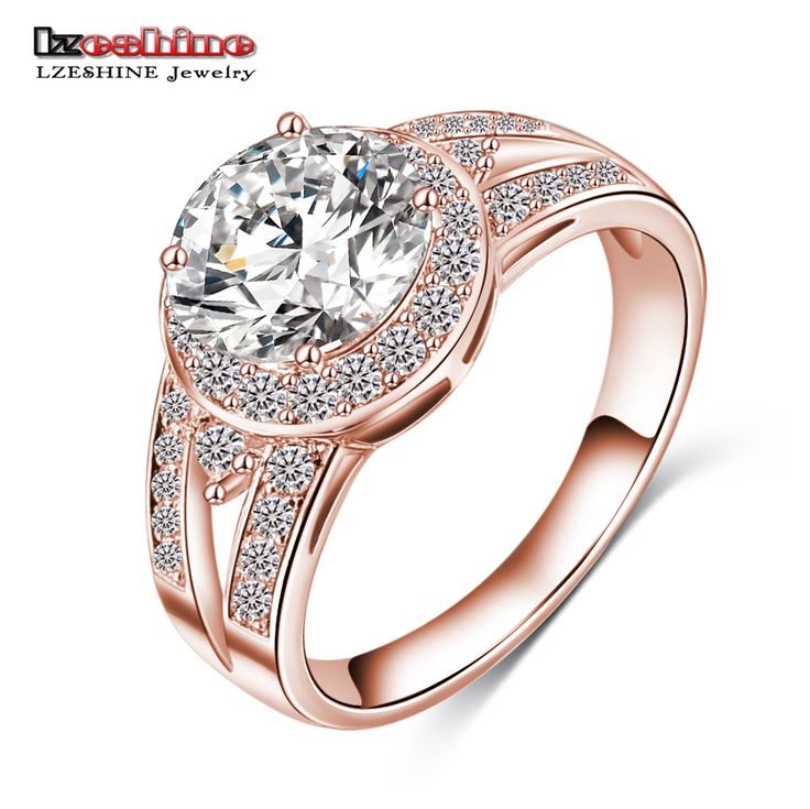 LZESHINE New Design Trendy 2016 Gift Rings Rose Gold/Silver Plated AAA Cubic Zircon Women Wedding Rings CRI0009