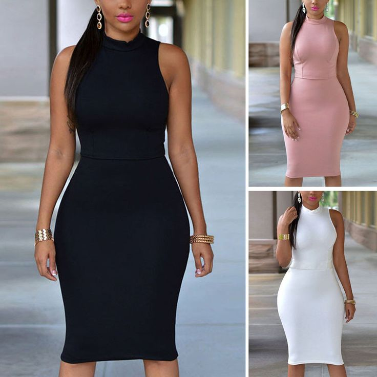 Sexy Womens Pencil Dress Casual Sleeveless Bodycon Club Party Dress Plus Sizes #Unbranded #Bodycon #WeartoWorkParty