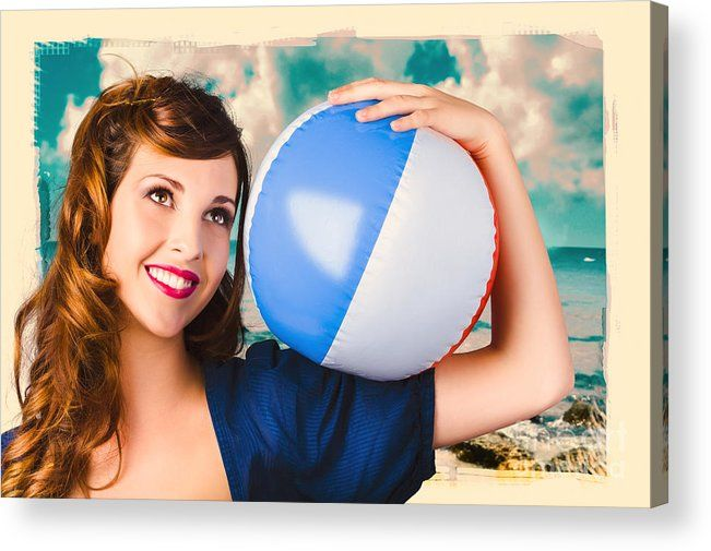 1950s Acrylic Print featuring the photograph Vintage 1950 Era Pin-up Woman With Beach Ball by Jorgo Photography - Wall Art Gallery