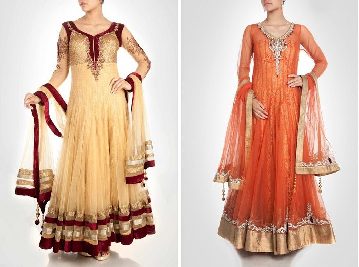 Floor length anarkalis look complete and grand even without a dupatta.