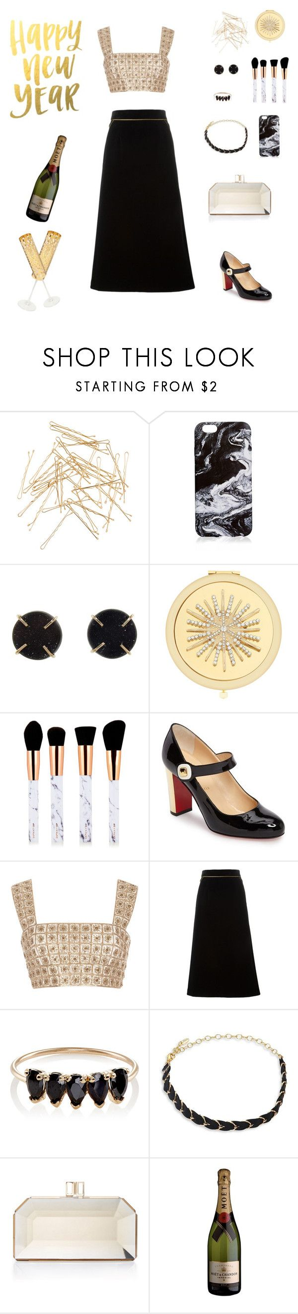 """Stay Golden"" by jessicaoftheoaks ❤ liked on Polyvore featuring Monki, Melissa Joy Manning, Monet, Christian Louboutin, Oscar de la Renta, Yves Saint Laurent, Loren Stewart, Ettika, Judith Leiber and Roberto Cavalli"