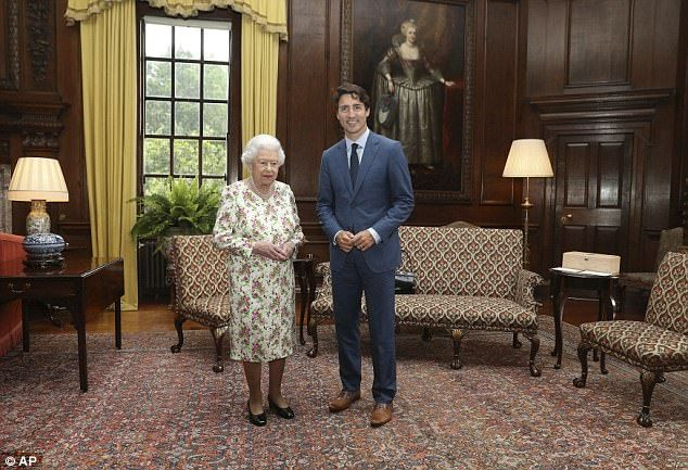 The Queen posed with Canadian Prime Minister Justin Trudeau in Edinburgh, Scotland, this a...