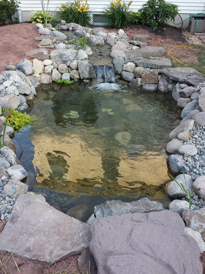 """""""A true work of art in 90+ degree temps! Nice work and thank you!"""" #ponds #backyard #landscaping #buckscounty"""