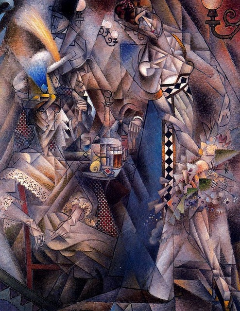 Title: Dancer in a Cafe, 1912. Artist: Jean Metzinger. Fauvism, cubism: work characterized by distortion & violent colours. Cubism penetrates surfaces of objects, geometric shapes & presents objects in different angles. Wth the presence of geometric shapes, distortion of the subject matter (lady sitting, server) & how 'wild' the painting looks it relates to the features of the painting style.