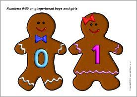 Nummerkaarten thema bakker voor kleuters / Numbers 0-50 on gingerbread boys and girls (SB3509) - SparkleBox