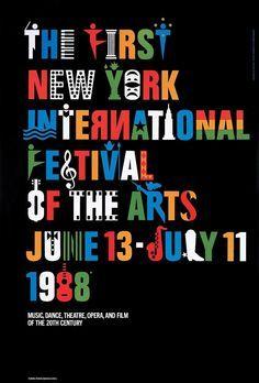 typographical poster | New York International Festival of the Arts by Ivan Chermayeff & Tom Geismar – 1988
