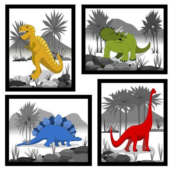 Classroom Decor Projects ~ Set of dinosaur wall prints canvas decor kids