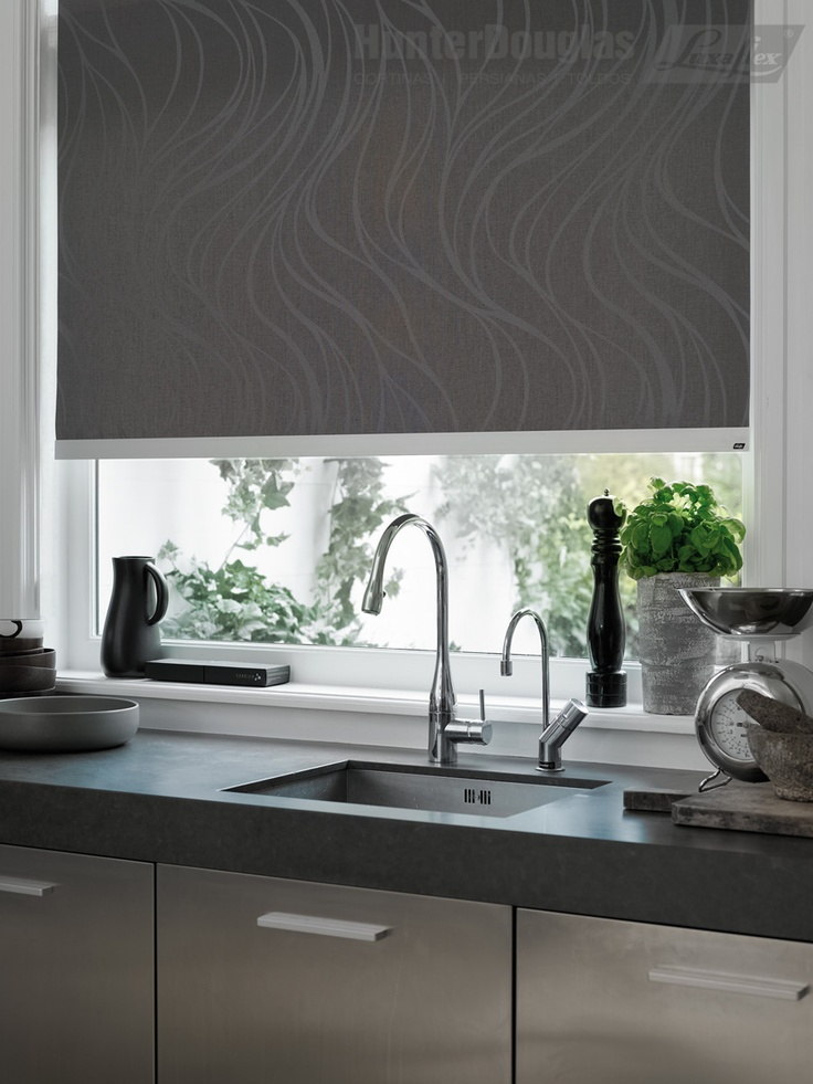 Sleek simplicity, perfect for a kitchen.  Hunter Dougals Designer Roller shades. *window treatments.