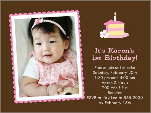 103 best Baby Girl's 1st Birthday Invitations images on Pinterest