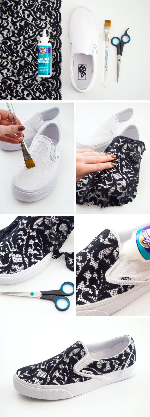 Apply black lace to a pair of slip-ons for a cute upgrade. | 21 Super-Easy Ways To Make Your Shoes Look More Expensive