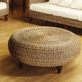 Wicker round ottoman for coastal style or international style home.