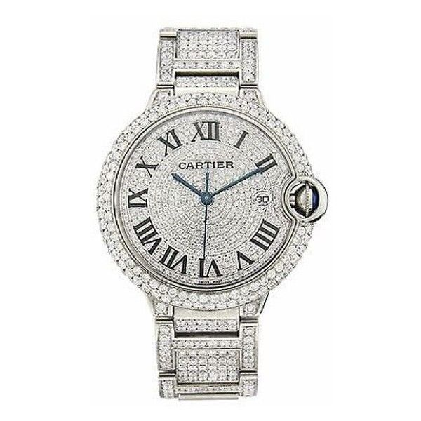 Pre-Owned Cartier Ballon Bleu w6901224 Diamond Stainless Steel... ($17,010) ❤ liked on Polyvore featuring jewelry, watches, white, preowned watches, diamond jewelry, diamond watches, white watches and stainless steel wrist watch