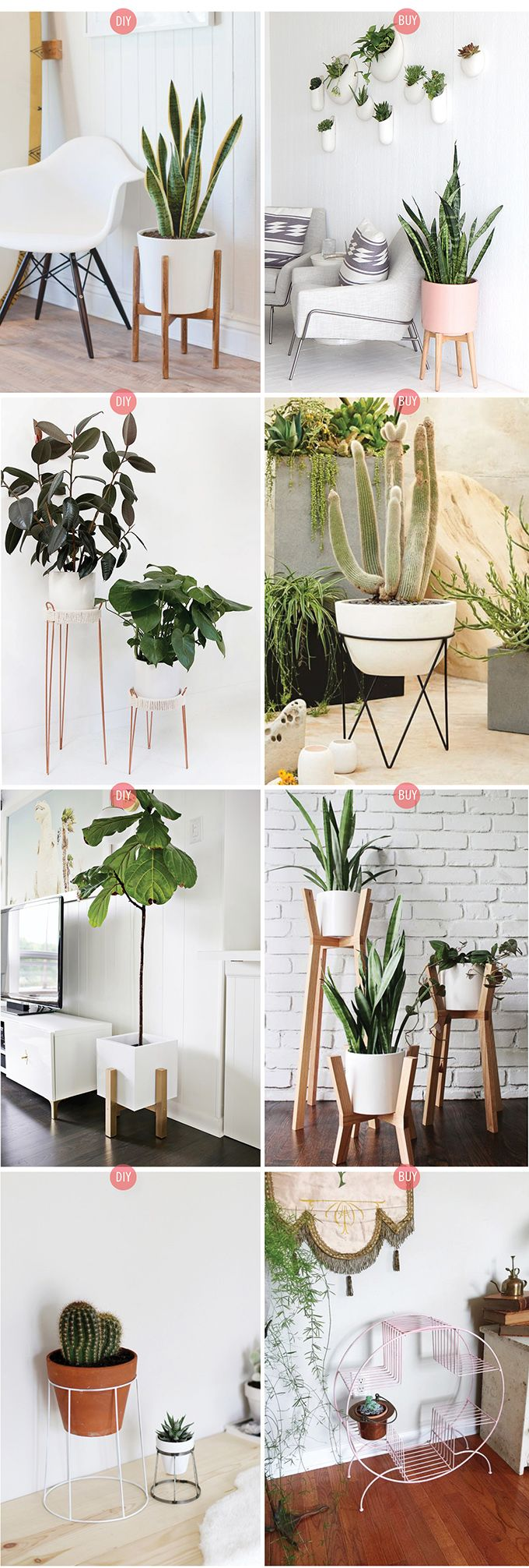 Need some ideas to display your plants indoor and outdoor?  Here you go: We have listed a lot of easily made plant stand ideas to put some greenery accent to your home. Hope you like it. :)