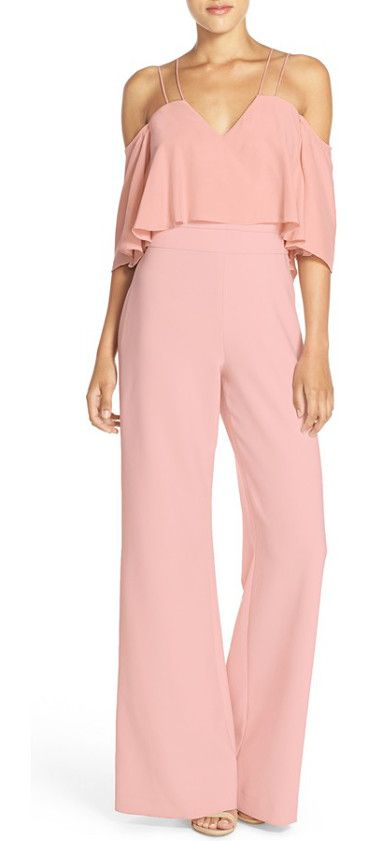 nix off the shoulder jumpsuit by Jay Godfrey. Skinny double straps suspend the flouncy off-the-shoulder bodice of a retro-inspired jumpsuit tha...