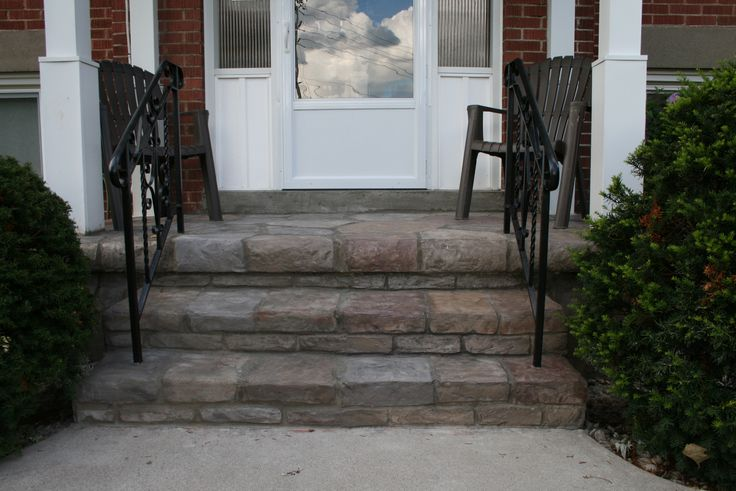 This is a stone facing called Flex-C-Ment over an old concrete porch in Burlington Ontario.