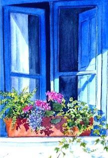 ✿Flowers at the window & door✿ Blue Window (Spain)