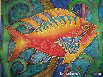 Рыбка 1 - батик, картины с изображением животных. МегаГрад - главный ресурс мастеров и художников