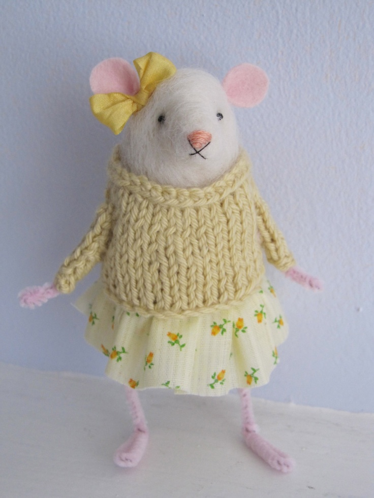 needle felted mouse in yellow sweater. $70.00, via Etsy.