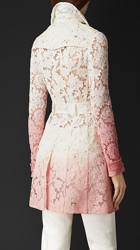 Rosa antigo / branco Trench coat de renda dégradé - Imagem 2