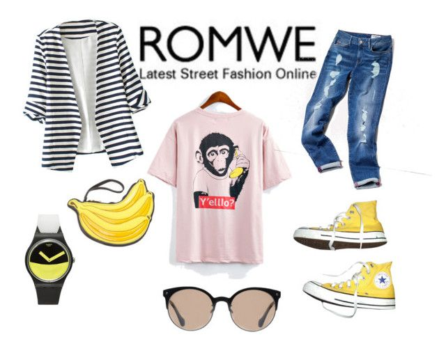 Untitled #18 by ana-maria-utea on Polyvore featuring WithChic, Tommy Hilfiger, Converse, Swatch and Balenciaga