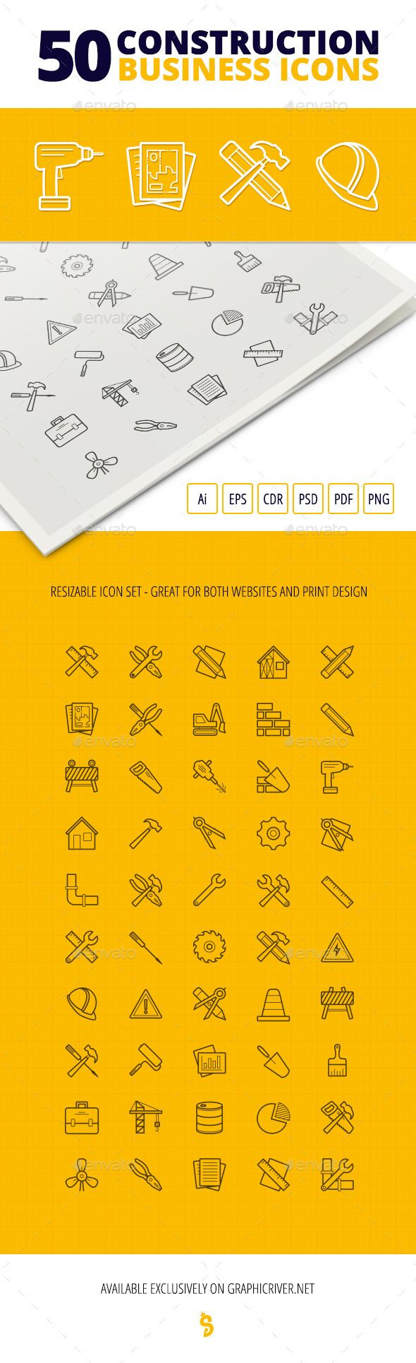 50 Construction Business Icons