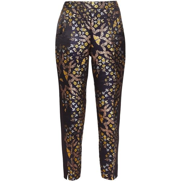 Ted Baker Tvnat Kyoto Gardens Tailored Trousers ($130) ❤ liked on Polyvore featuring pants, capris, sale women trousers, metallic trousers, floral pants, tailored trousers, floral print trousers and side zip pants