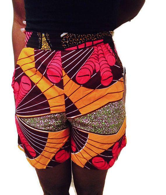 Lumba African print shorts Ankara shorts tribal shorts by Nopoku